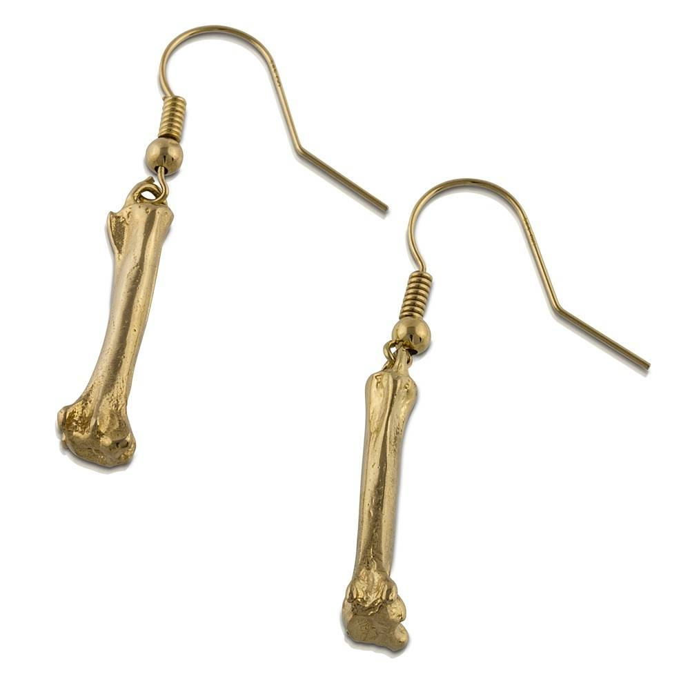 Alligator Toe Bone Earrings - 14K Gold