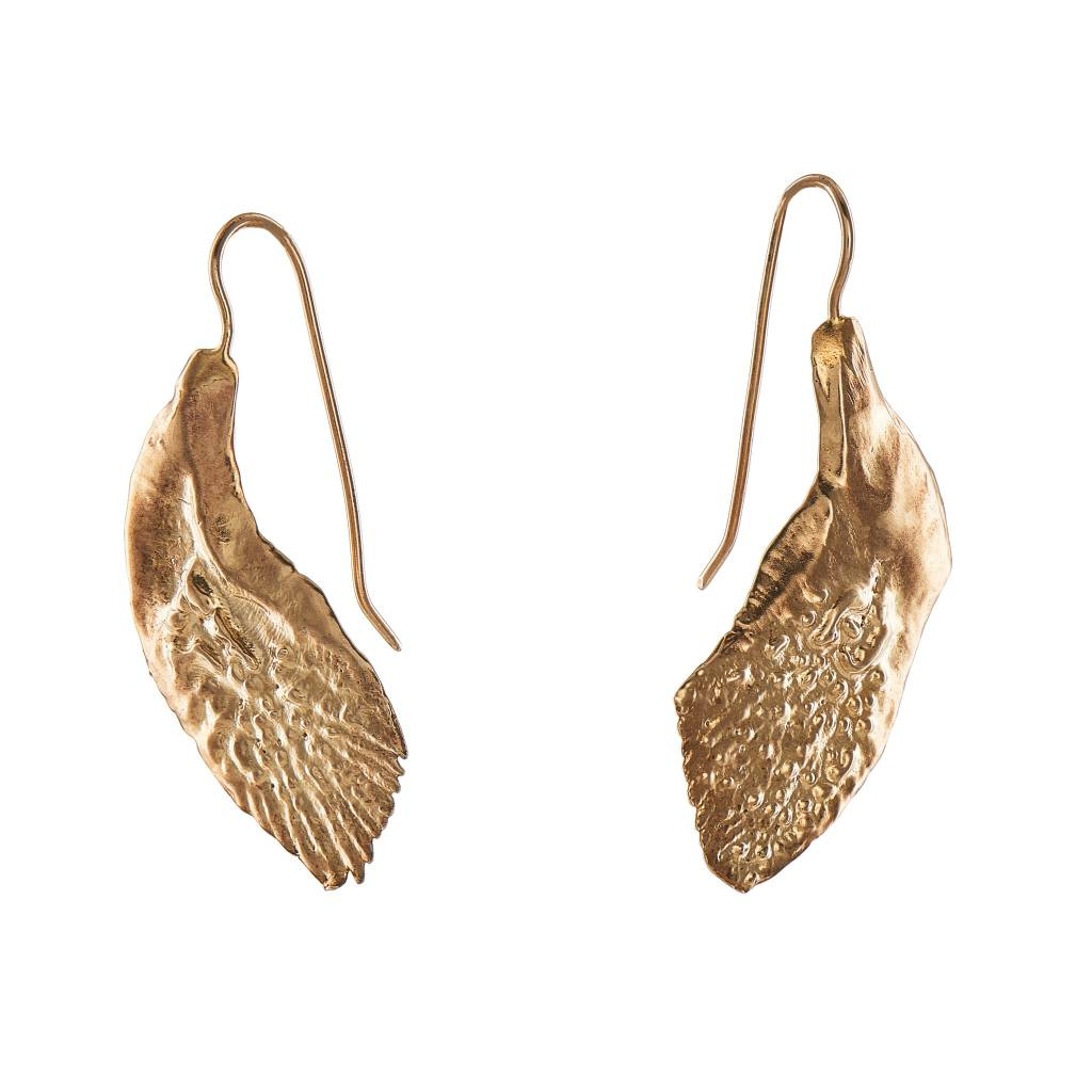 Garfish Scale Earrings - 14K Gold