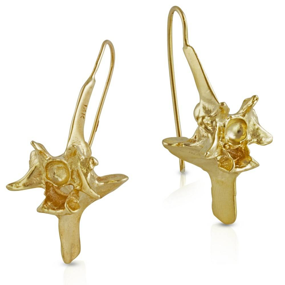 Rattlesnake Vertebrae Earrings - 14K Gold (Large)