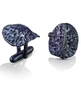 Alligator Scute Cufflinks - Sterling Silver (Oxidized)