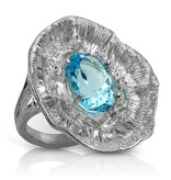 Barnacle Ring - Sterling Silver (Sky Blue Topaz)
