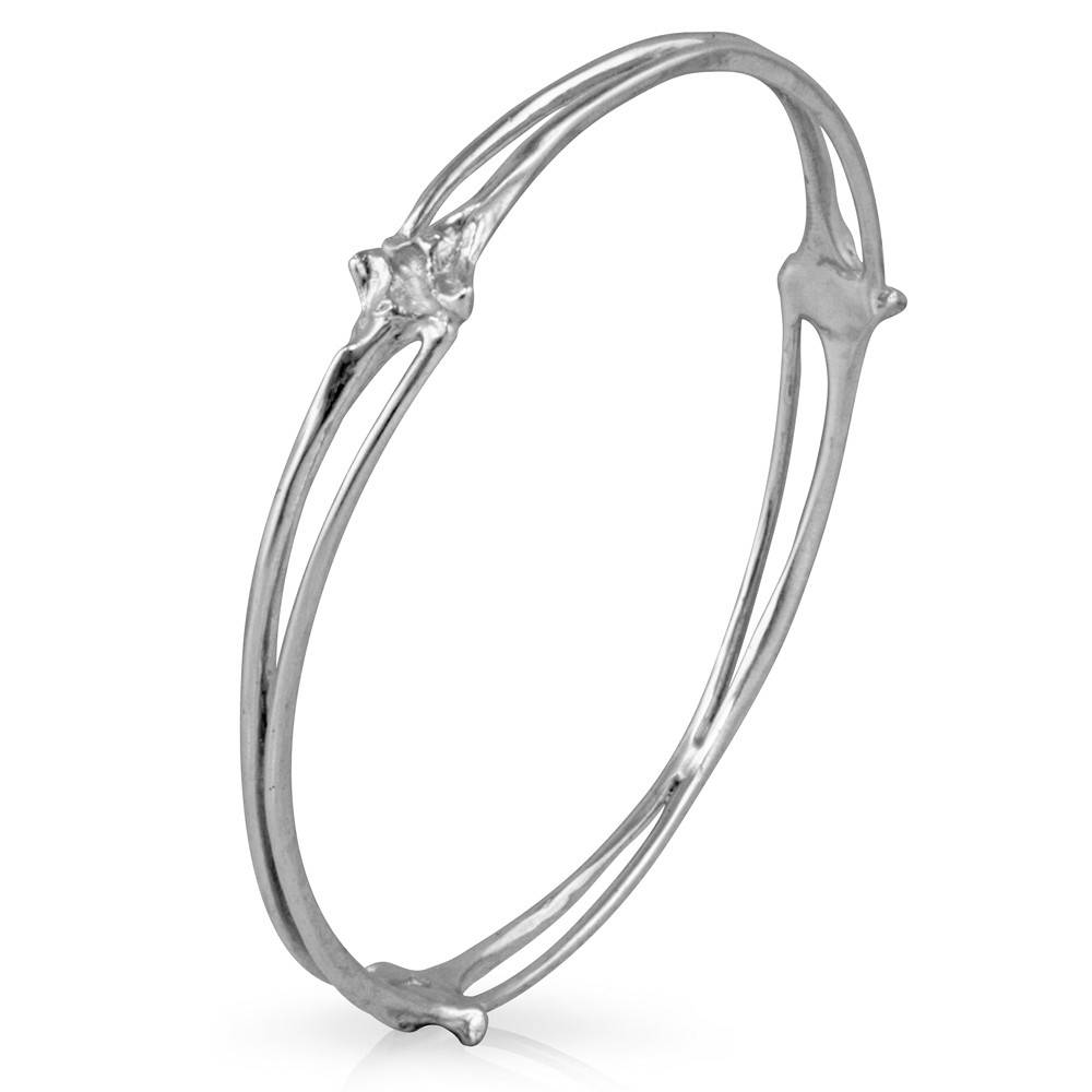 Rattlesnake Rib Bangle - Sterling Silver