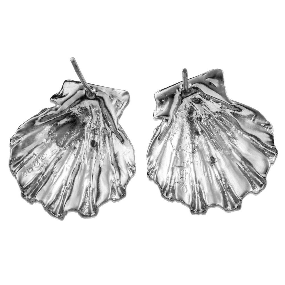 Scallop Shell Earrings - Sterling Silver (Post)