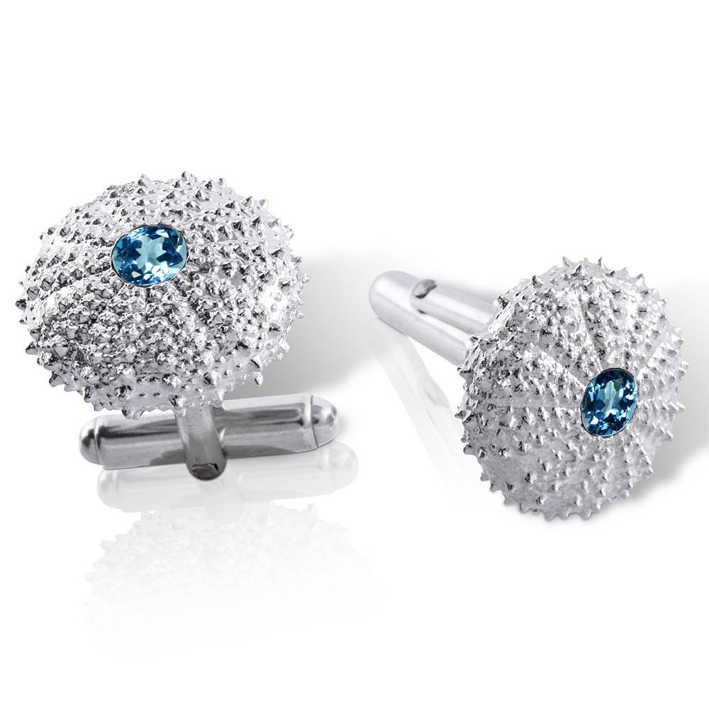 Sea Urchin Cufflinks - Sterling Silver (London Blue Topaz)