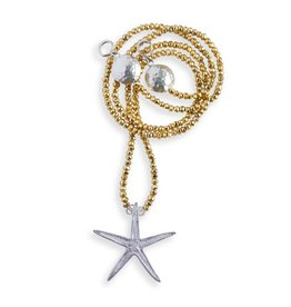 Starfish Pendant Necklace - Sterling Silver- coin pearl (Large) - Opera