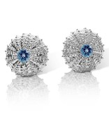 Sea Urchin Earrings - Sterling Silver - Medium (London Blue Topaz)
