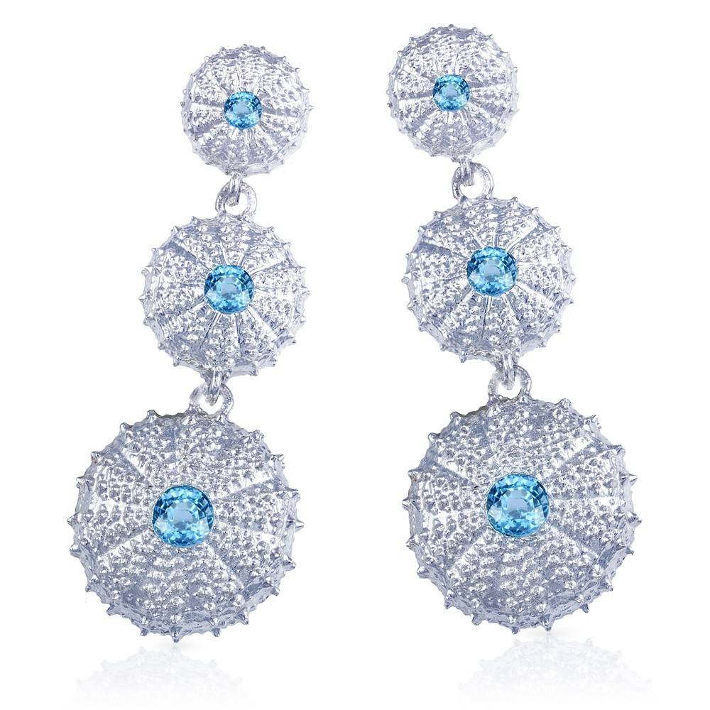 Sea Urchin Earrings - Sterling Silver - Triple (Sky Blue Topaz)