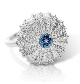 Sea urchin Ring - Sterling Silver (London Blue Topaz)
