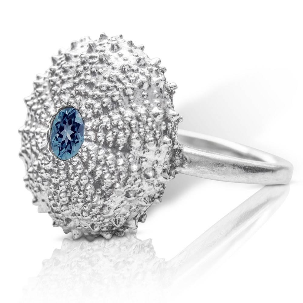 Sea Urchin Ring - Sterling Silver (London Blue Topaz)