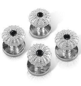 Sea Urchin Shirt Studs - Sterling Silver (Black Onyx)