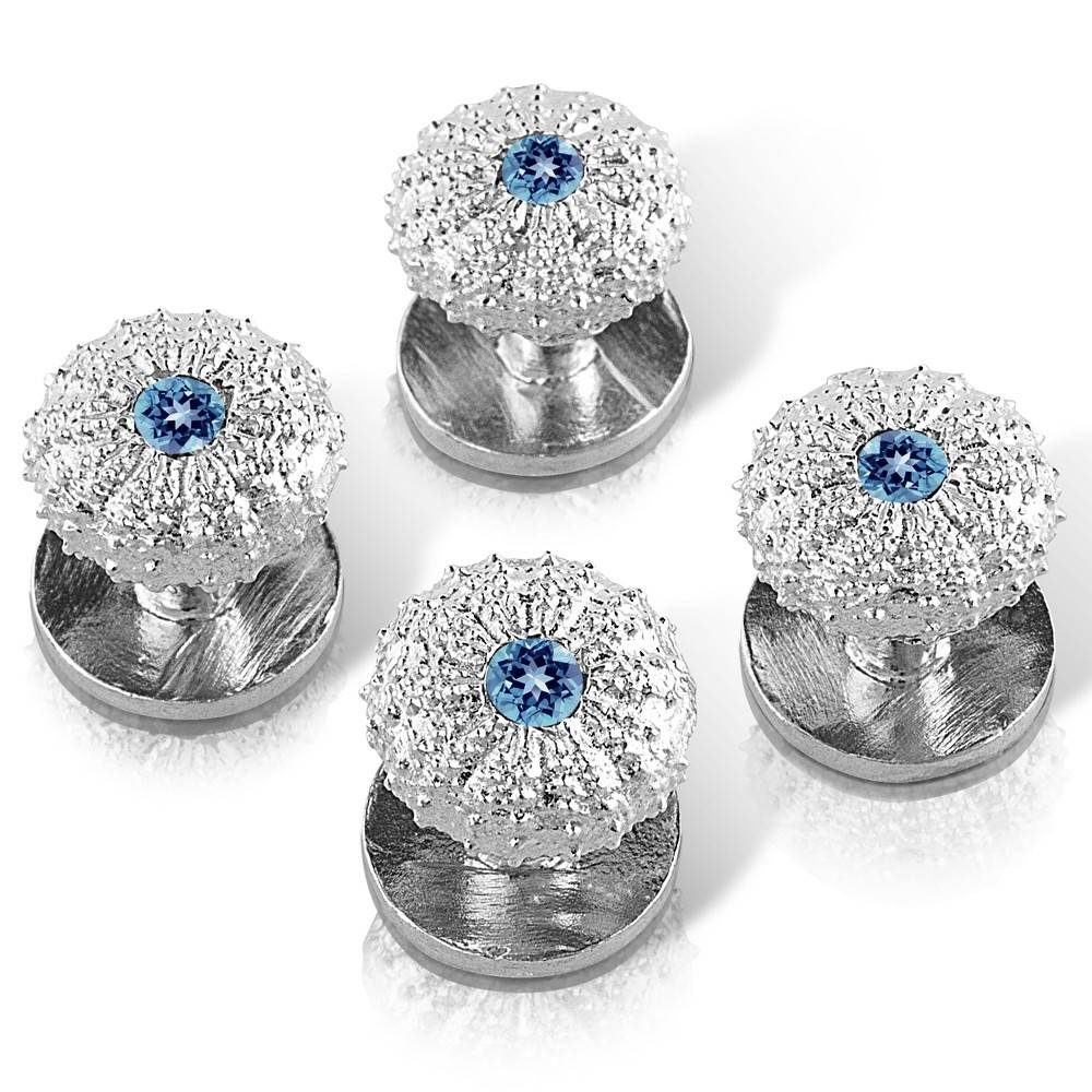 Sea Urchin Shirt Studs - Sterling Silver (London Blue Topaz) (Set of 4)