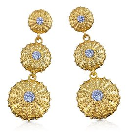 Sea Urchin Earrings - Vermeil - Triple (CZ)