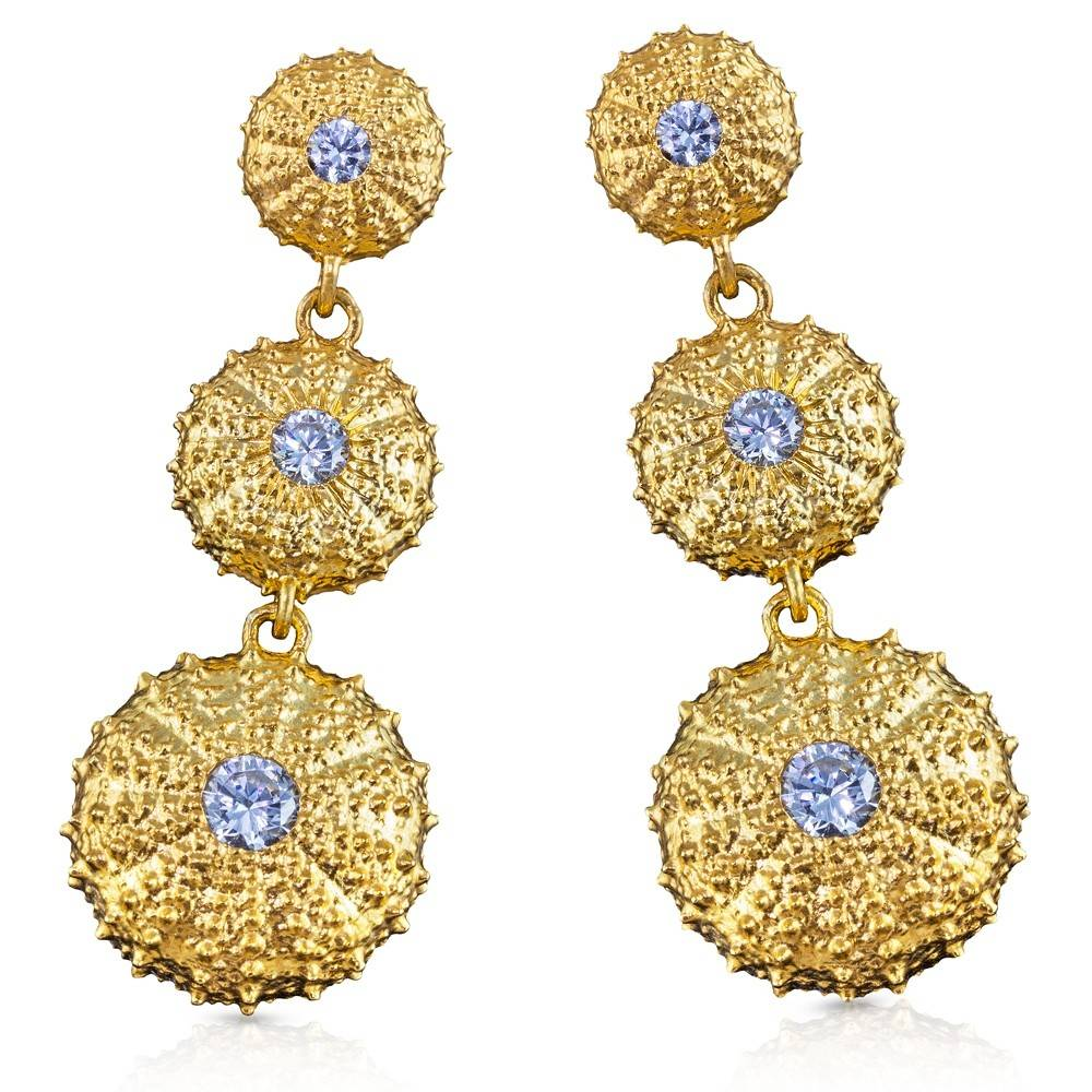 Sea Urchin Earrings - Vermeil - Triple (Clear CZ)