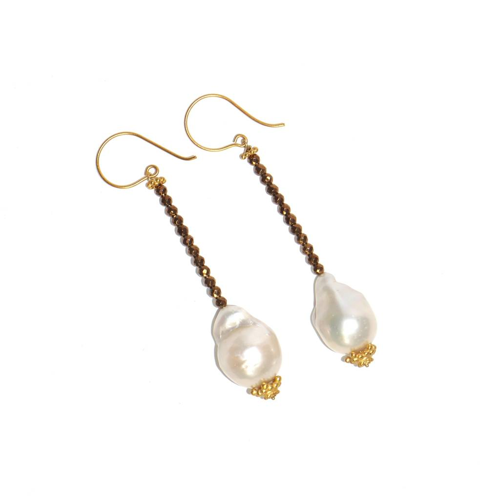 Baroque Pearl Beaded Drop Earrings - Vermeil (Post/Wire)