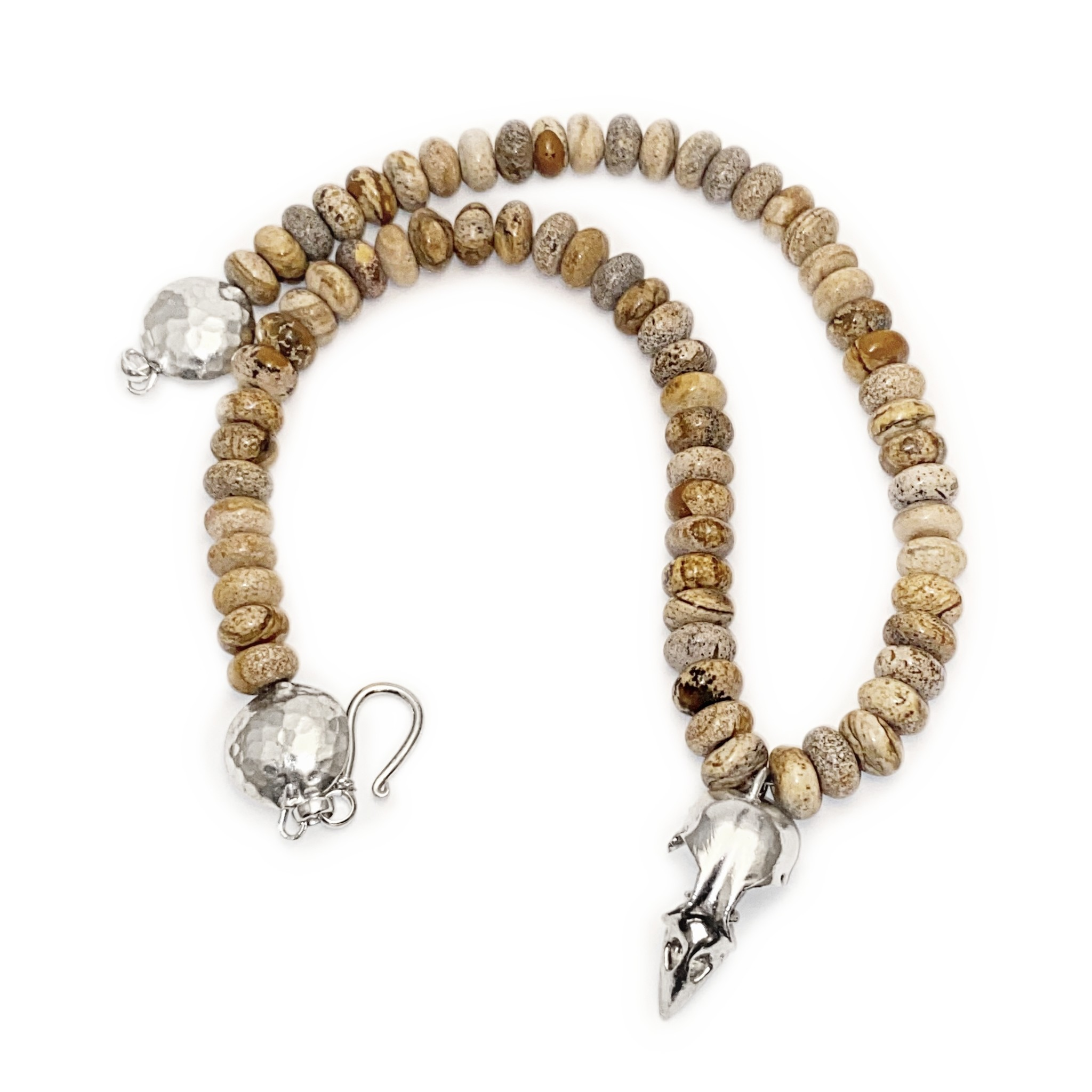 Bird Skull Pendant Necklace - Sterling Silver