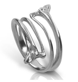 Rattlesnake Double Rib Ring - Sterling Silver