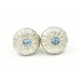 Sea Urchin Earrings - Sterling Silver - Small (Sky Blue Topaz)