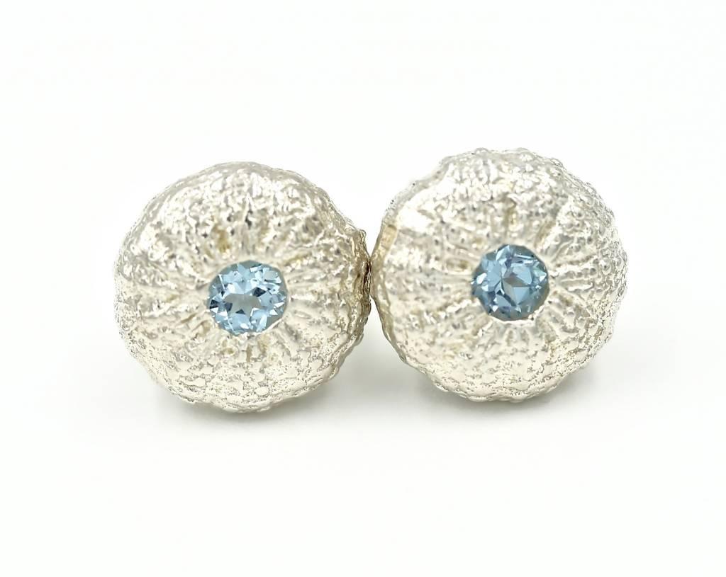 Sea Urchin Earrings - Sterling Silver - Small (Sky Blue Topaz)