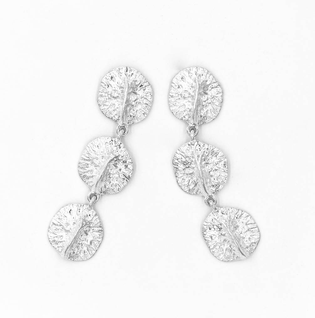 Alligator Scute Earrings - Triple - Sterling Silver