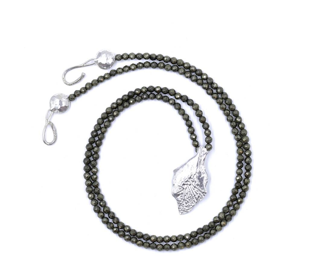 Garfish Scale Pendant Necklace - Sterling Silver (XL) - (Opera)