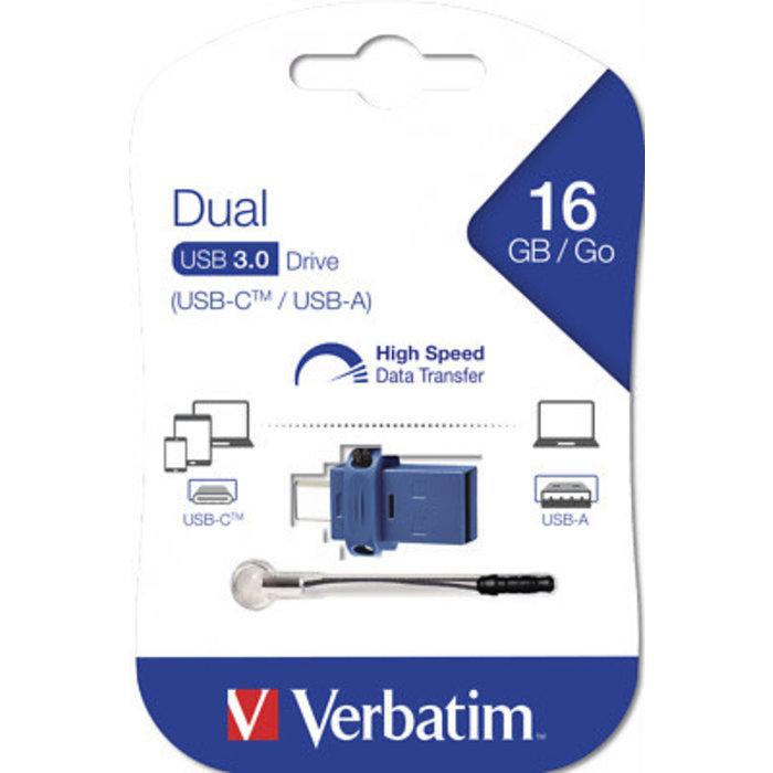 Verbatim 16GB StoreNGo Dual USB-A & USB-C Flash Drive