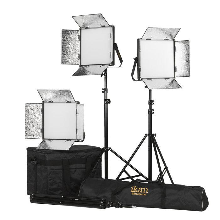 LYRA 1 X 1 BI-COLOR (3200K-5600K) 3-POINT SOFT PANEL LED LIGHT KIT W/ GOLD & V-MOUNT BATTERY PLATE