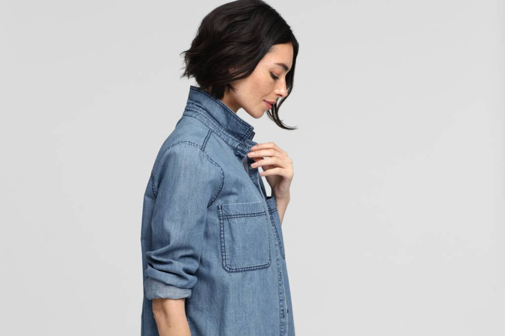 Eileen Fisher ORGANIC COTTON DENIM CLASSIC SHIRT