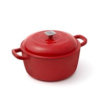 Red Enamelled Cast-Iron Dutch Oven