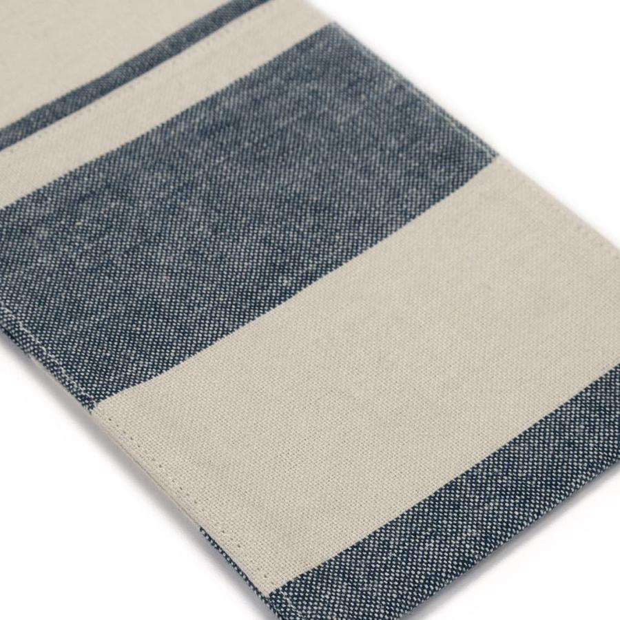 Pochettes à ustensiles en chambray à larges rayures bleues - Photo 1