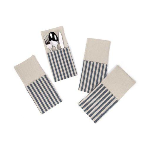 Pochettes à ustensiles à fines rayures