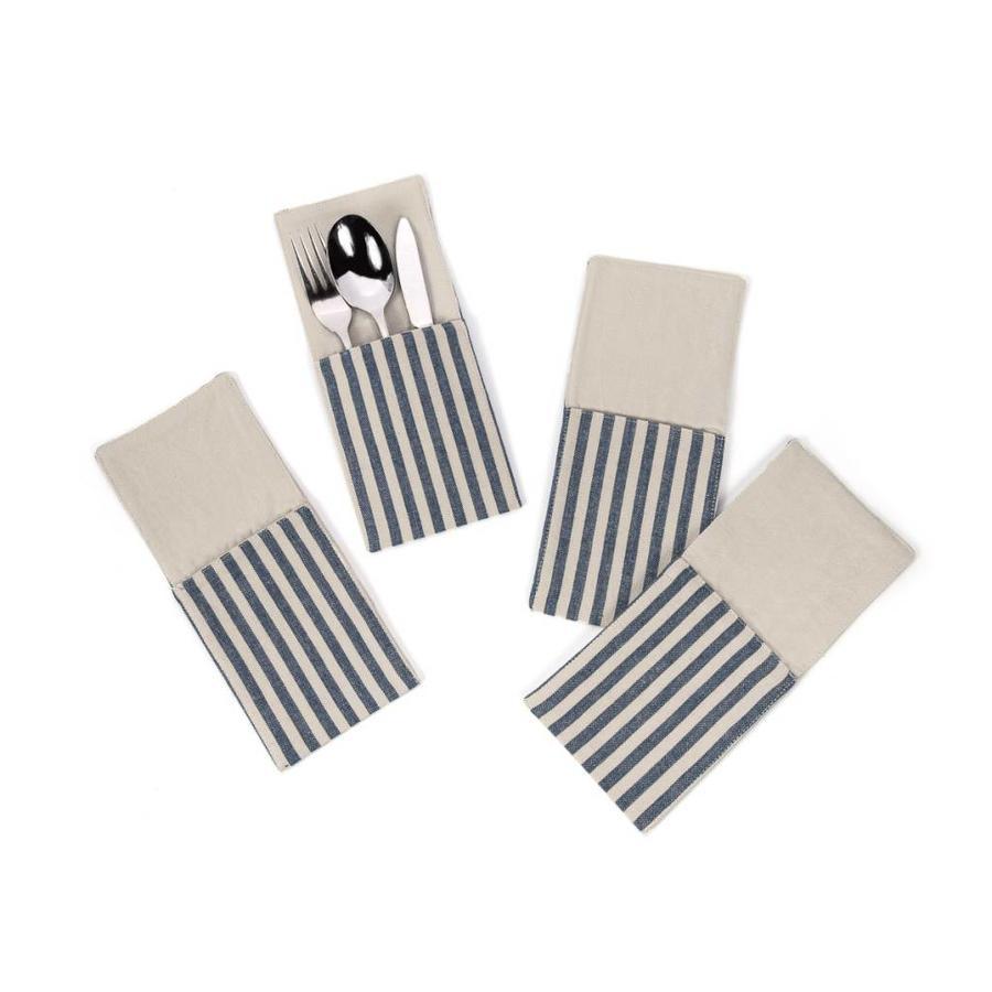 Pochettes à ustensiles en chambray à fines rayures bleues - Photo 0