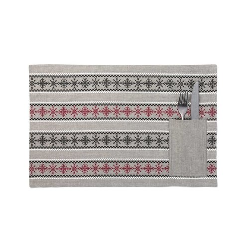Red and Black Snowflake Placemats with Utensil Pouches
