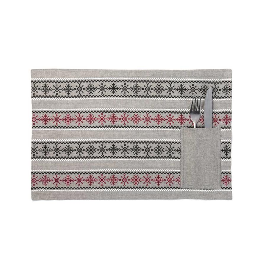 Red and Black Snowflake Placemats with Utensil Pouches - Photo 0