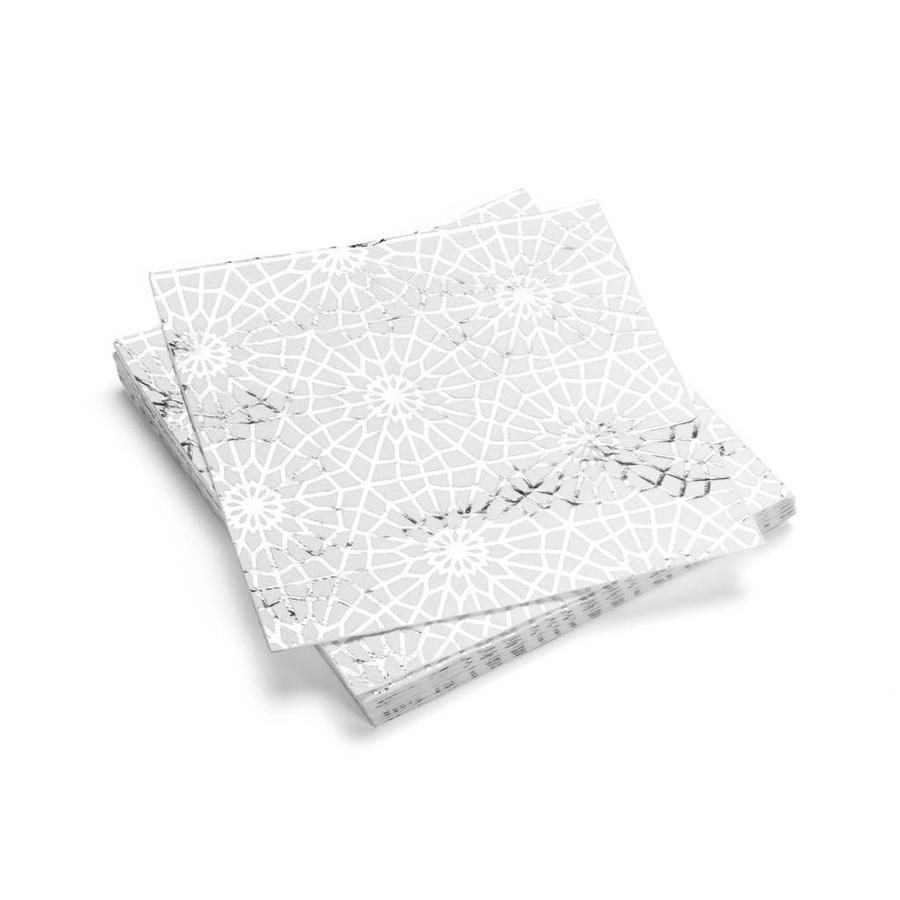 Serviettes de table en papier à motifs de flocons argentés - Photo 0
