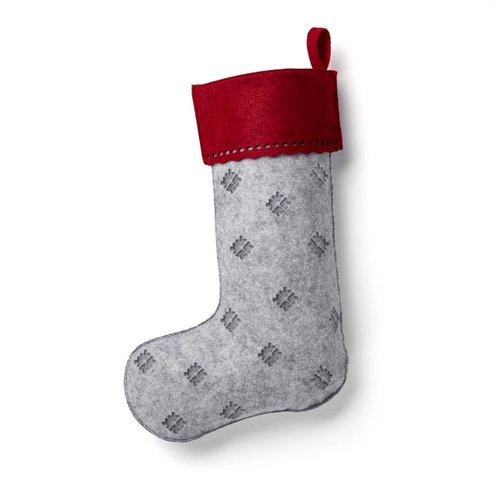 Bas de Noël gris à flocons