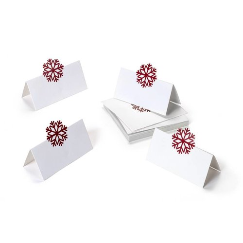Red Snowflake Place Markers