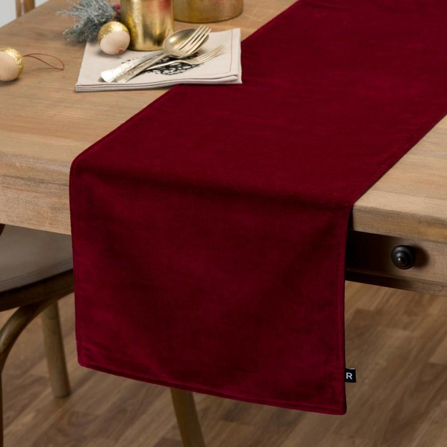 Chemin de table rouge en velours - Photo 0