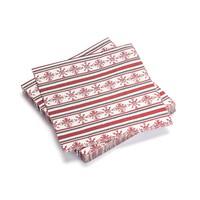 Serviettes de table en papier à flocons rouges et à rayures