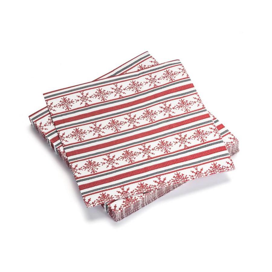 Serviettes de table en papier à flocons rouges et à rayures - Photo 0