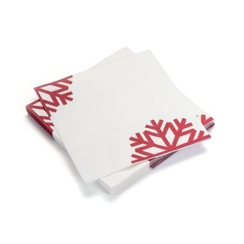 White Paper Napkins with Red Snowflakes