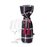Navy Blue Checkered Wine Bag
