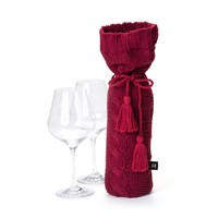 Red Knit Wine Bag