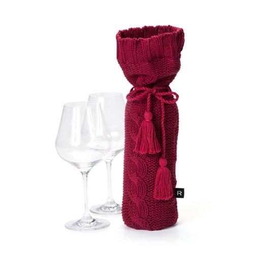 Sac à vin rouge en tricot