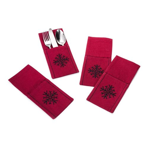 Garnet Red Snowflake Utensil Pouches