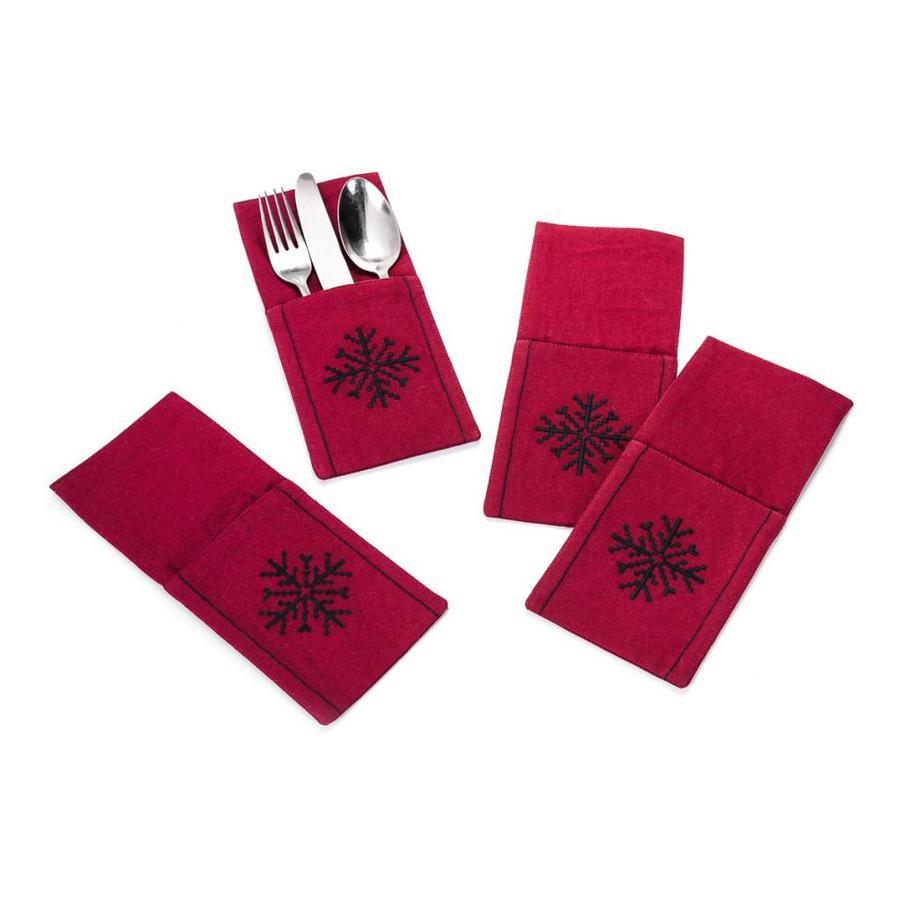 Pochettes à ustensiles rouge grenat à flocon noir brodé - Photo 0