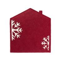 Sous-plat en feutre rouge en forme de maisonnette