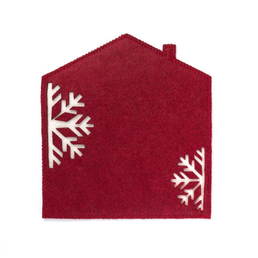 Sous-plat en feutre rouge en forme de maisonnette - Photo 0
