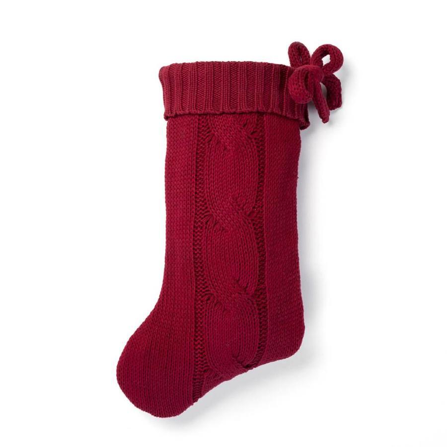 Bas de Noël rouge en tricot - Photo 0