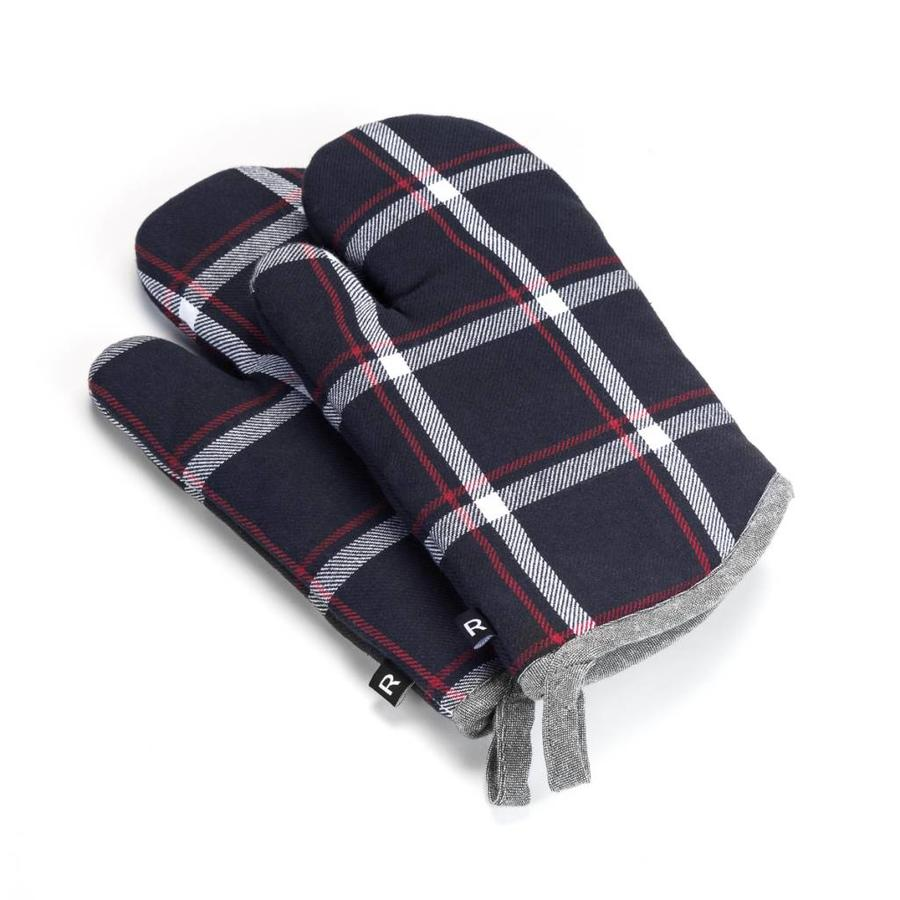 Navy Blue Checkered Oven Mitts - Photo 0