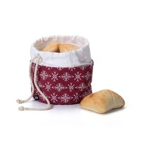 Red Bread Bag with White Snowflakes